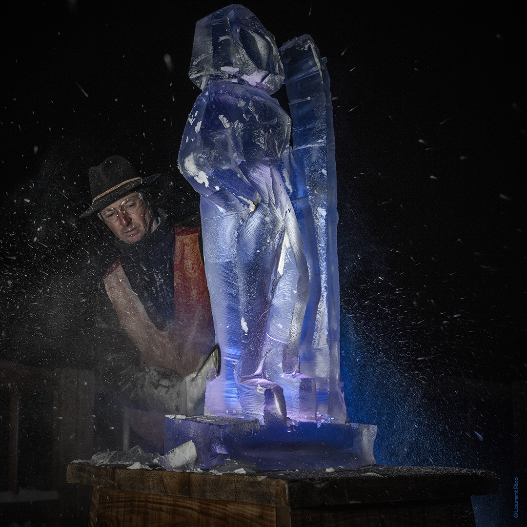laurent rico-entreprise-creations- realisations-productions audiovisuelles-photographe-savoie-sculpture sur glace-christian burger-artiste-artisan-neige